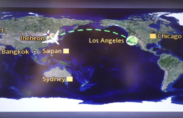 Flight map Incheon Los Angeles