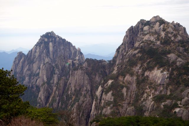 Huangshan Mountain cliff temple China
